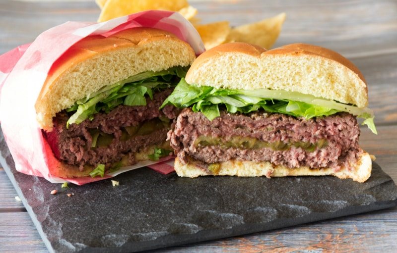 green chile and cheese stuffed burgers